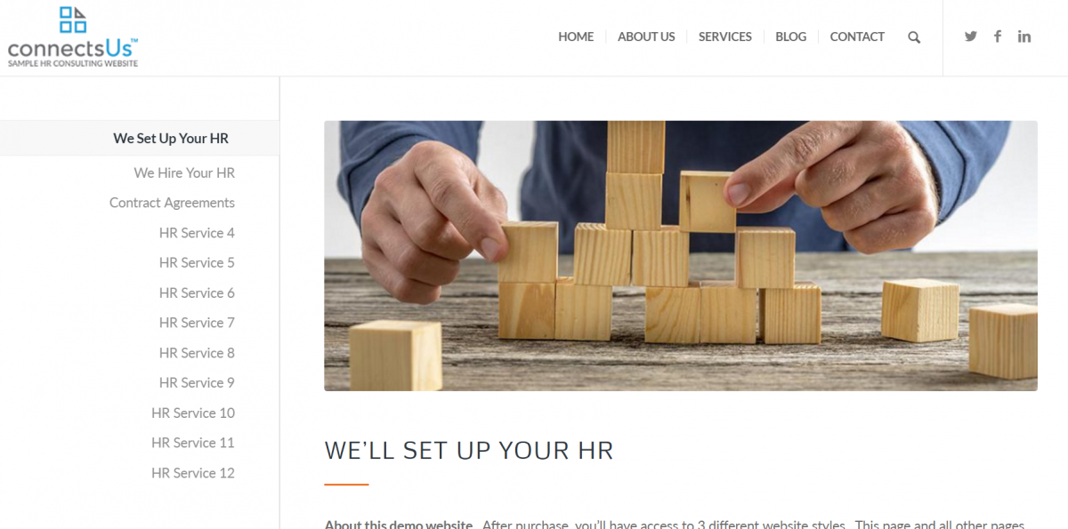 HR Consulting Website content